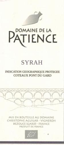 IGP Coteaux du Pont du Gard Syrah red  AB